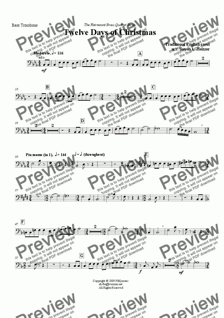 page one of the Bass Trombone part from The Twelve Days of Christmas - Brass QUARTET