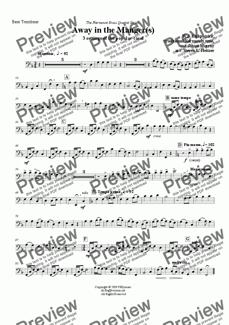 page one of the Bass Trombone part from Away in the Manger(s) - Brass QUARTET