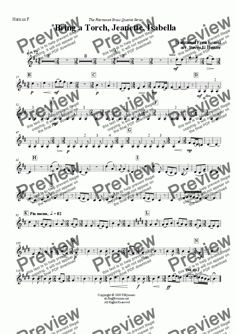 page one of the Horn in F part from Bring a Torch, Jeanette, Isabella - Brass QUARTET