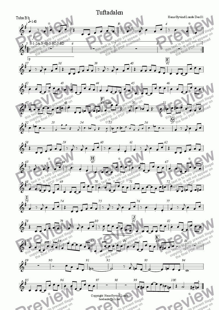page one of the Tuba treble clef part from Tuftadalen