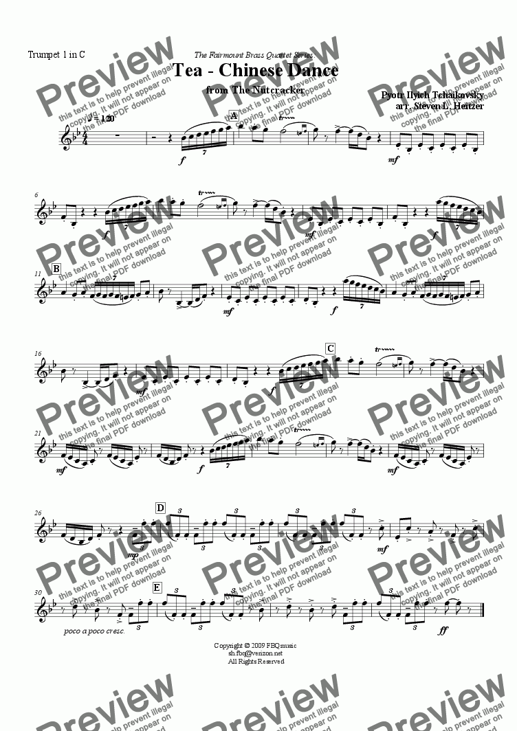 page one of the Trumpet 1 in C part from Tea / Chinese Dance, from the Nutcracker - Brass QUARTET