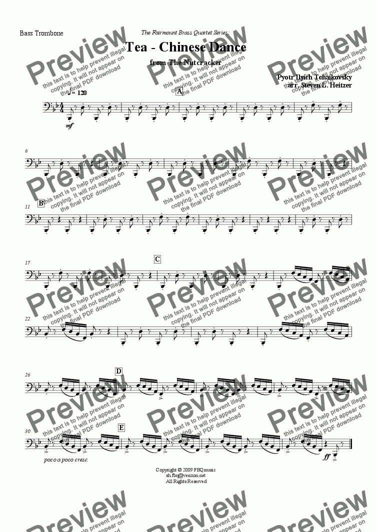 page one of the Bass Trombone part from Tea / Chinese Dance, from the Nutcracker - Brass QUARTET