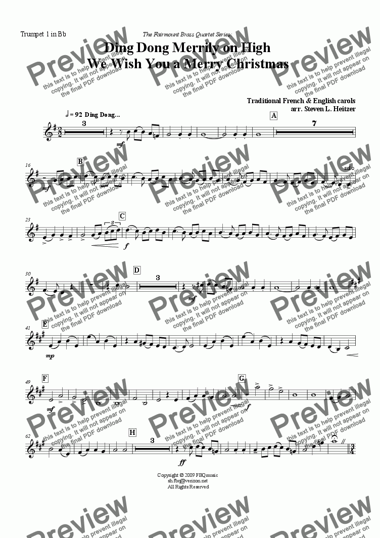 page one of the Trumpet 1 in Bb part from Ding Dong Merrily / We Wish You a Merry Christmas - Brass QUARTET