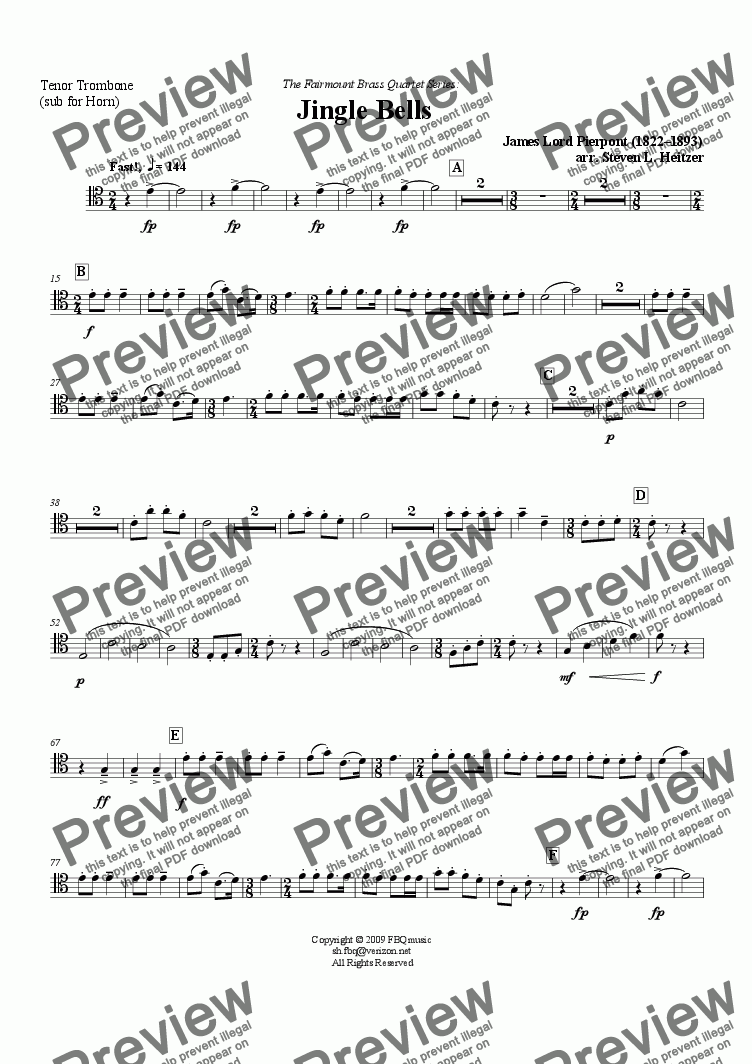 page one of the Tenor Trombone (sub for Hn) part from Jingle Bells - Brass QUARTET