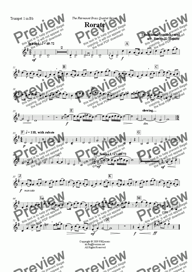 page one of the Trumpet 1 in Bb part from Rorate, a Scottish Christmas carol - Brass QUARTET