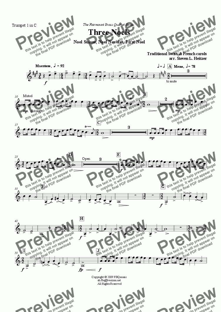 page one of the Trumpet 1 in C part from Three Noels - Brass QUARTET