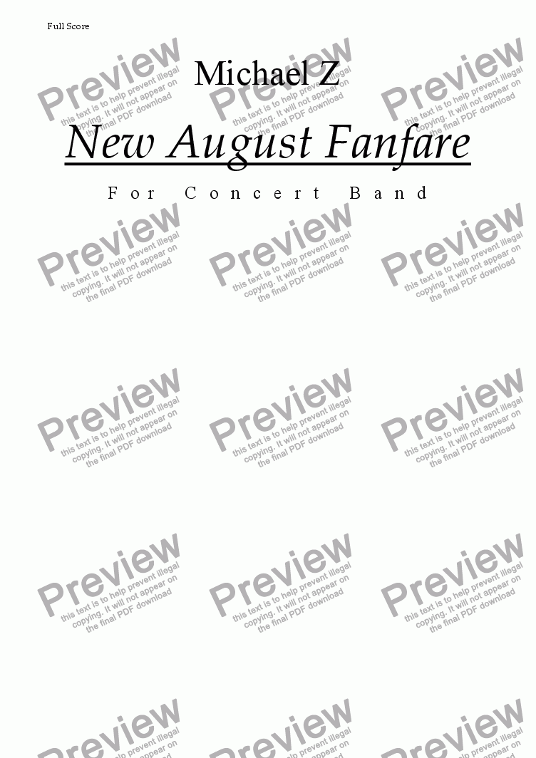 page one of the Cymbals part from New August Fanefare