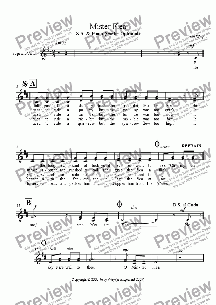 page one of the S.A. Vocal part from Mister Flea