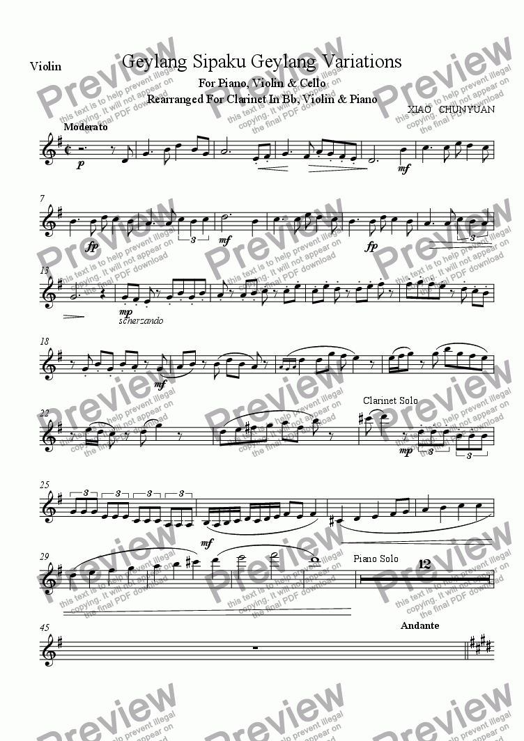 page one of the Violin part from Geylang Sipaku Geylang Variations Rearranged For Clarinet Trio