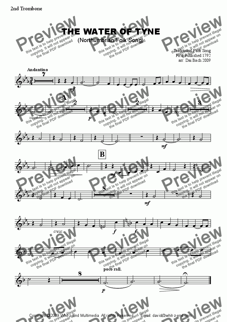page one of the 2nd Trombone part from The Water of Tyne