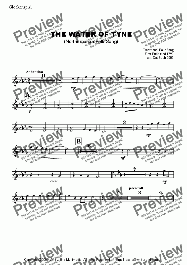 page one of the Glockenspiel part from The Water of Tyne