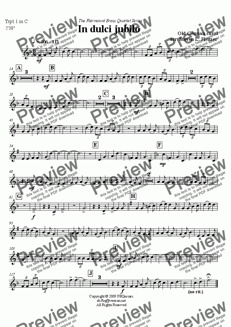 page one of the Trumpet 1 in C part from In dulci jubilo (Good Christian Men, Rejoice) - Brass QUARTET