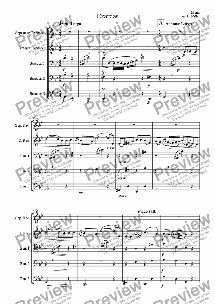page one of the Descant recorder part from Czardas