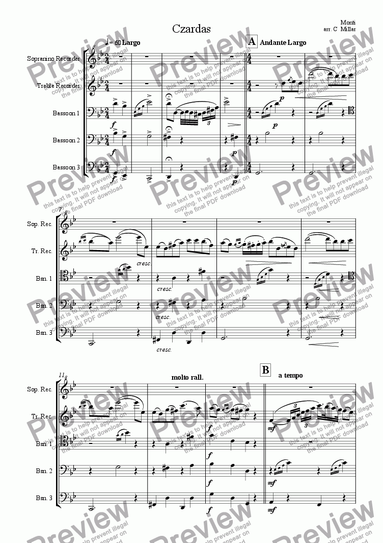page one of the Treble Recorder part from Czardas