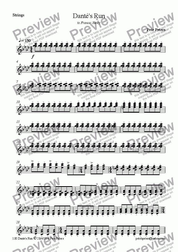 page one of the Strings part from Dante's Run [piano perc & stgs]