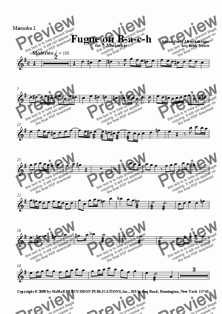 page one of the Marimba 2 part from Fugue on B-a-c-h