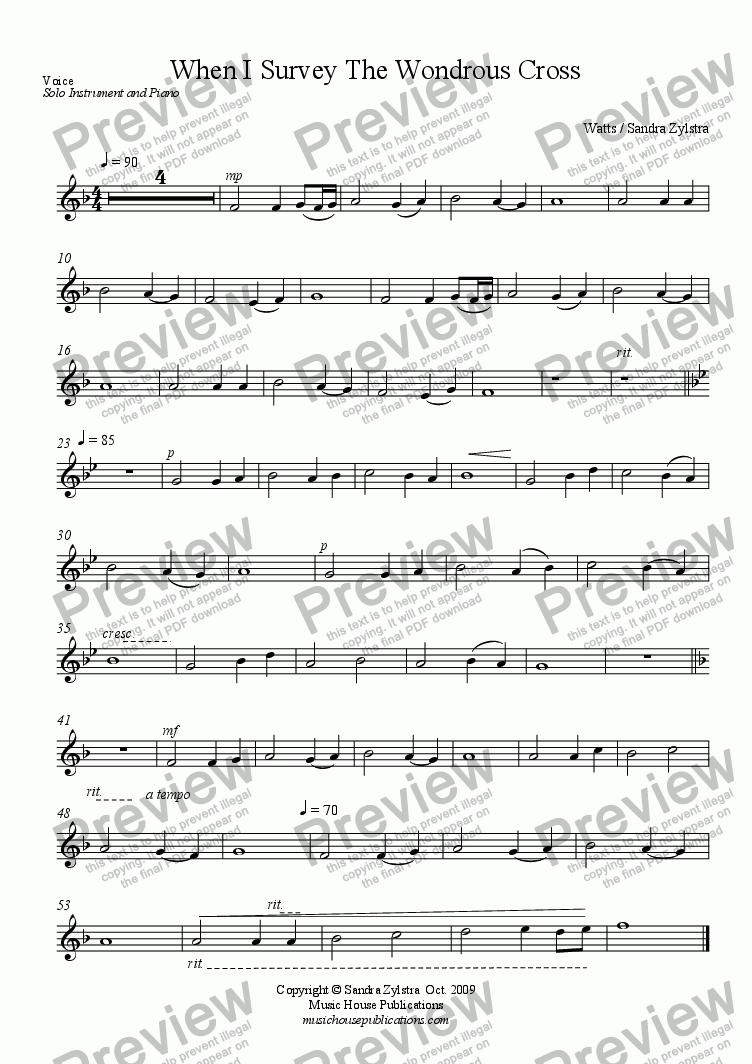 page one of the Solo Instrument part from When I Survey the Wondrous Cross (Solo Instrument & Piano)