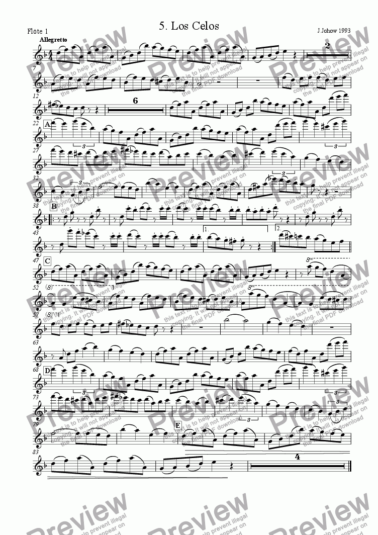 page one of the 1. Fl part from Tango 05 (Los Celos)