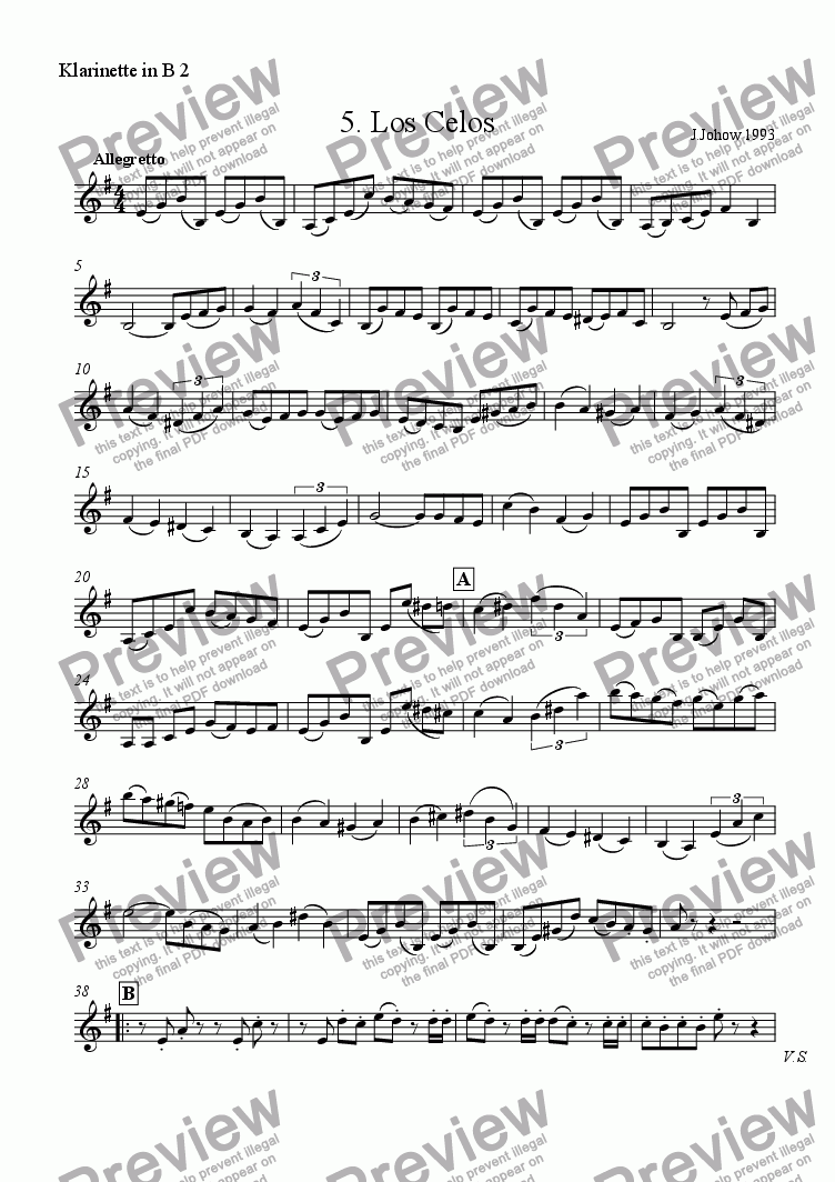 page one of the 2. Cl B part from Tango 05 (Los Celos)
