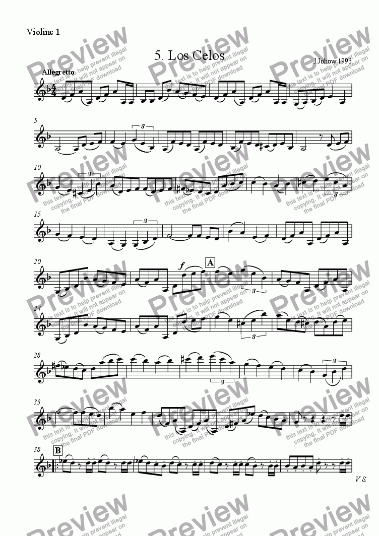 page one of the 1. Vl part from Tango 05 (Los Celos)