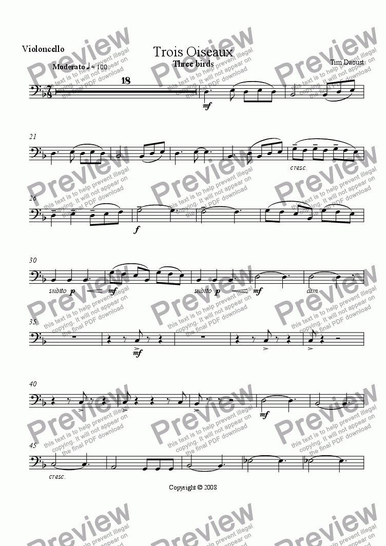 page one of the Violoncello part from Trois Oiseaux
