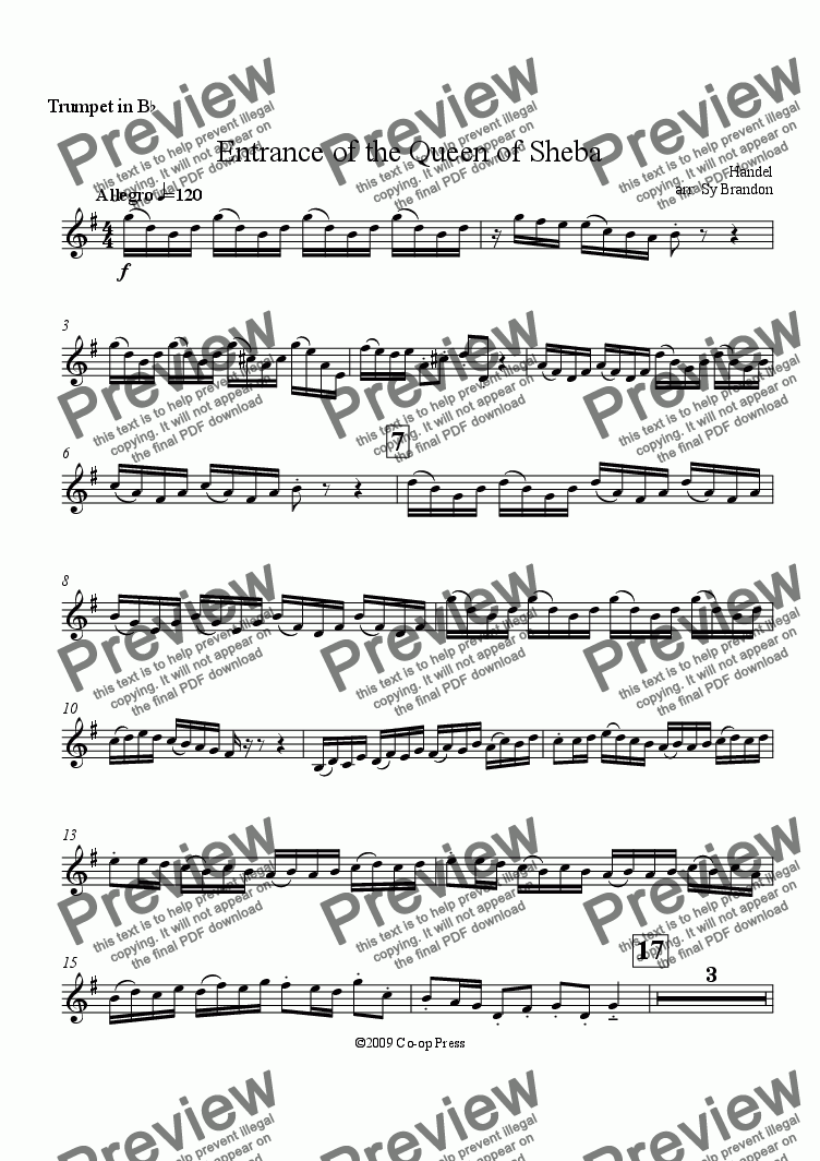 page one of the Trumpet in Bb part from Entrance of the Queen of Sheba for Brass Trio