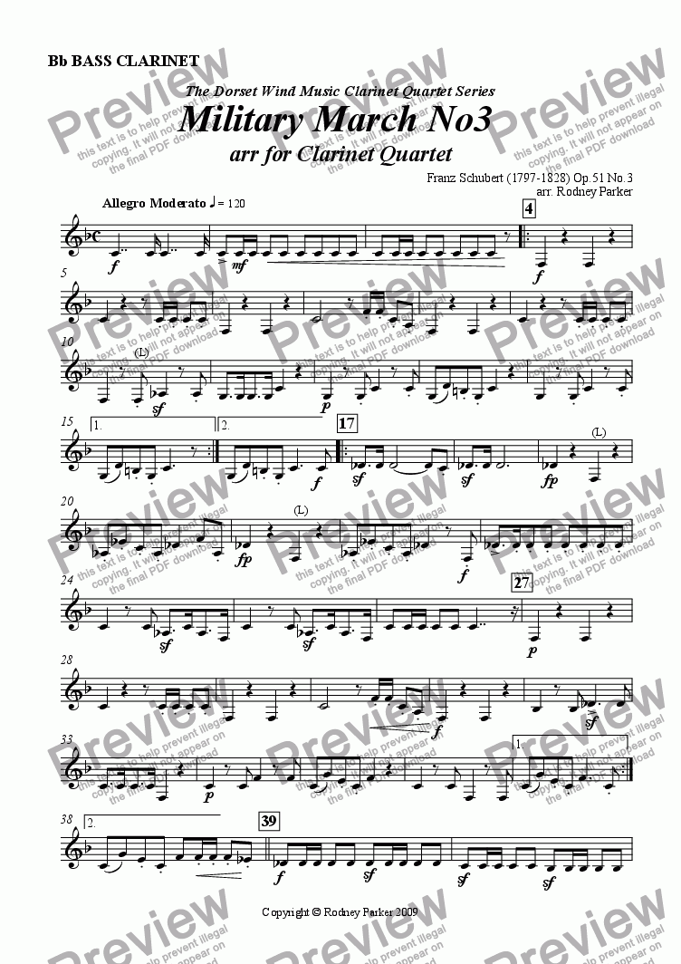 page one of the Bass Clarinet part from Military March No.3 arr. for Clarinet Quartet