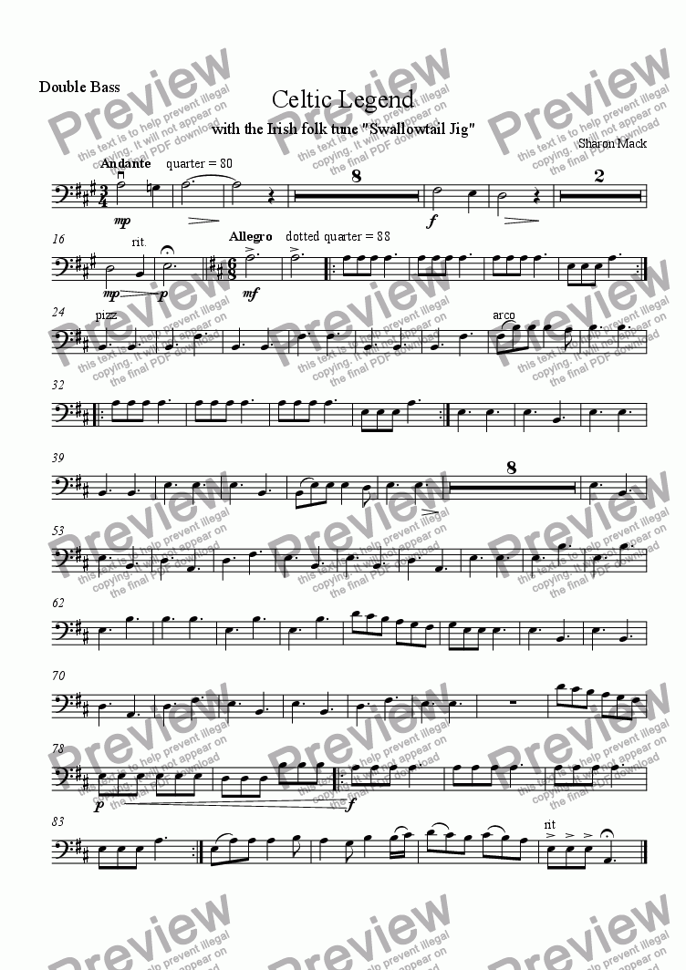 page one of the bass part from Celtic Legend
