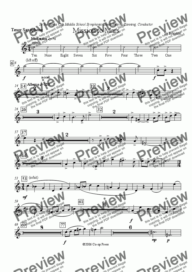 page one of the Tenor Saxophone part from Mission To Mars