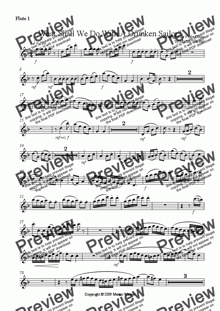 page one of the Flute 1 part from What Shall We Do With A Drunken Sailor? for Flute Choir
