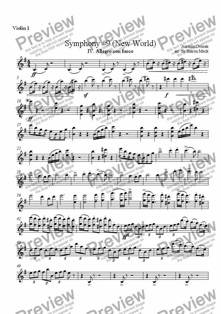 page one of the violin 1 part from Symphony #9 (New World)