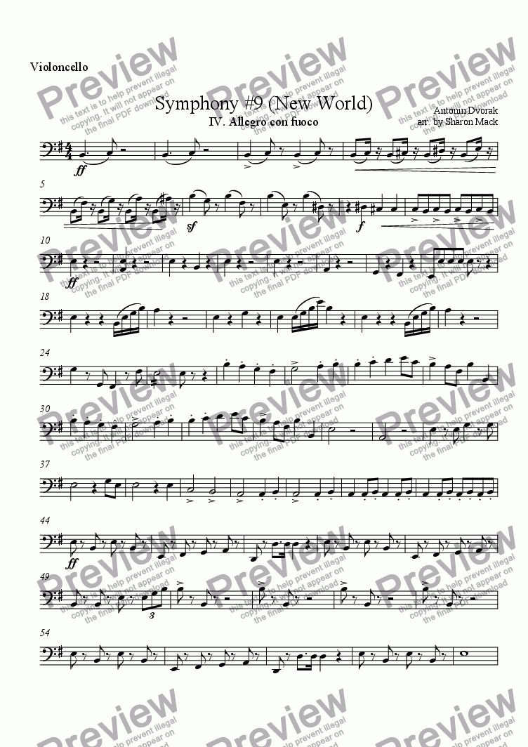 page one of the cello part from Symphony #9 (New World)