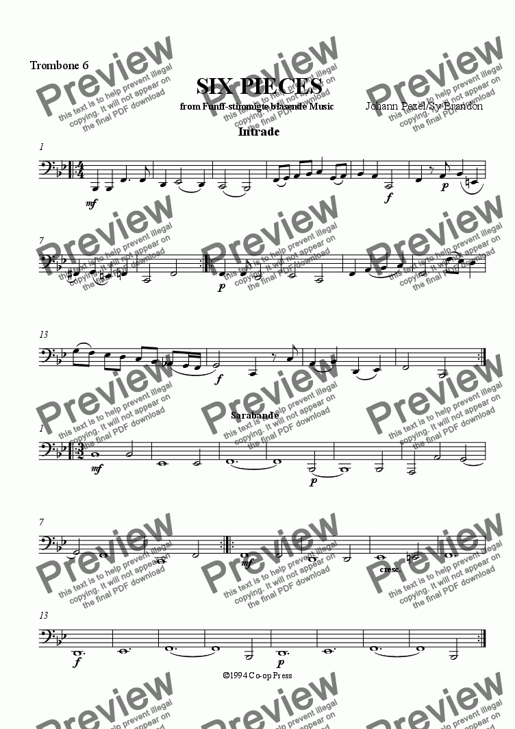 page one of the Bass Trombone part from Six Pieces for Trombone Sextet
