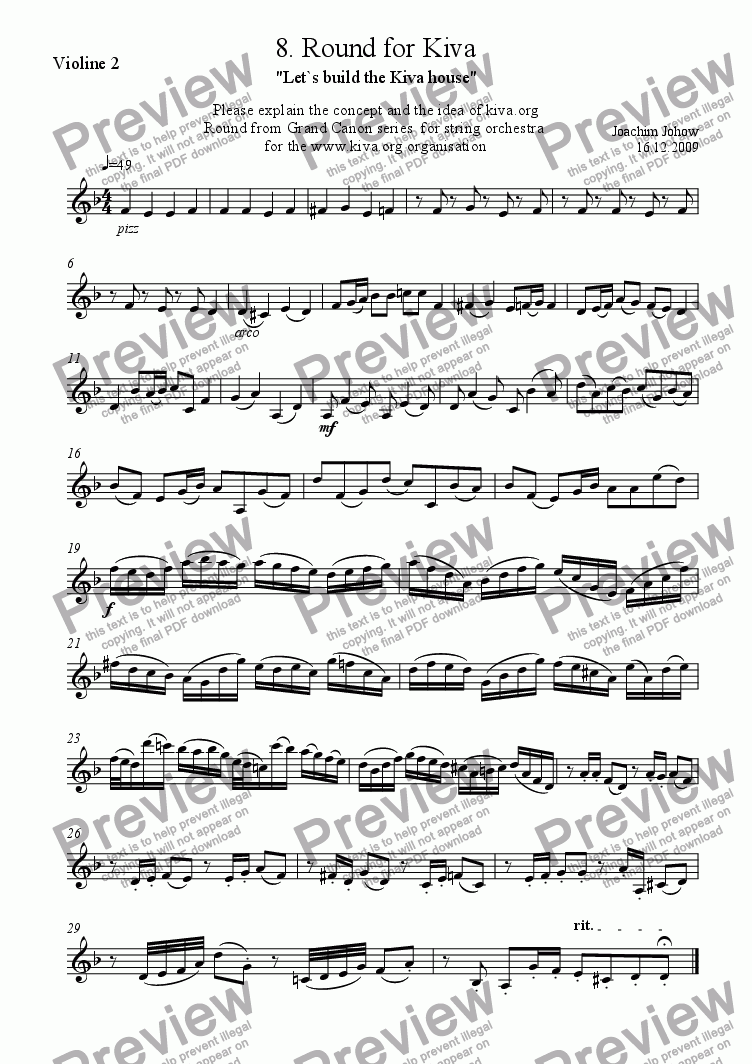page one of the 2. Vl part from String orchestra 08 (Round for Kiva)