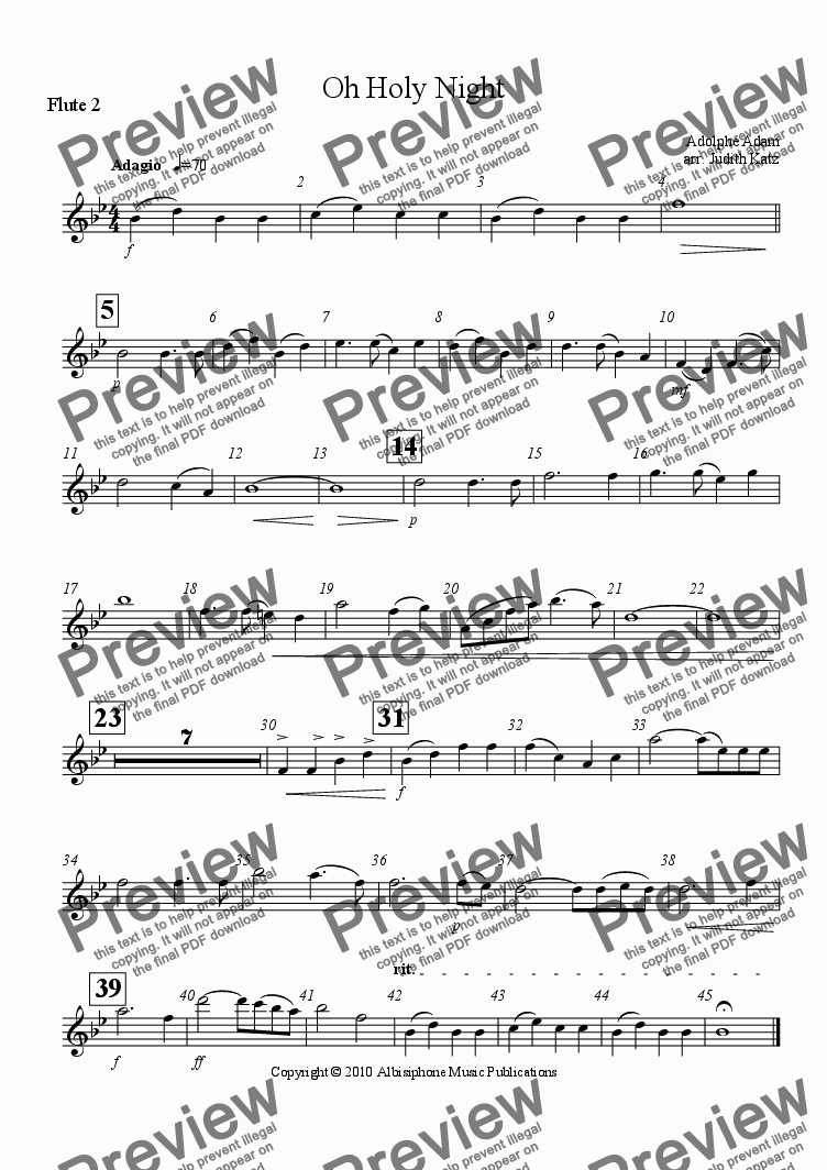 page one of the Flute 2 part from Oh Holy Night