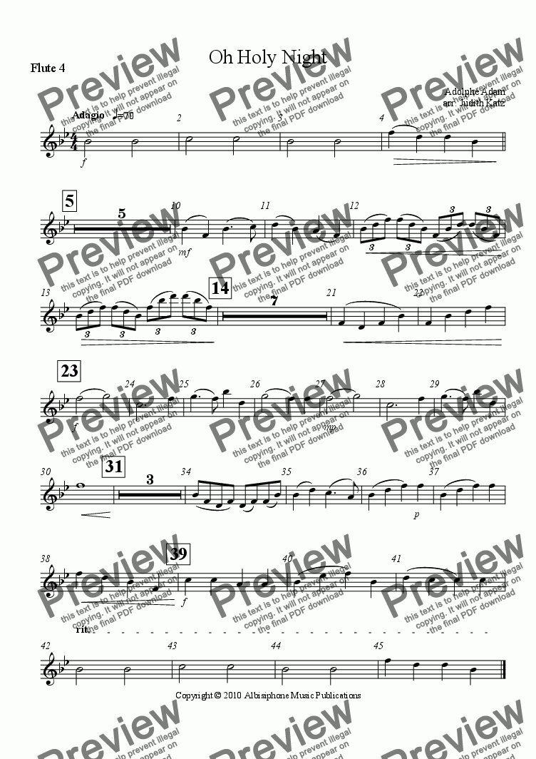 page one of the Flute 4 part from Oh Holy Night