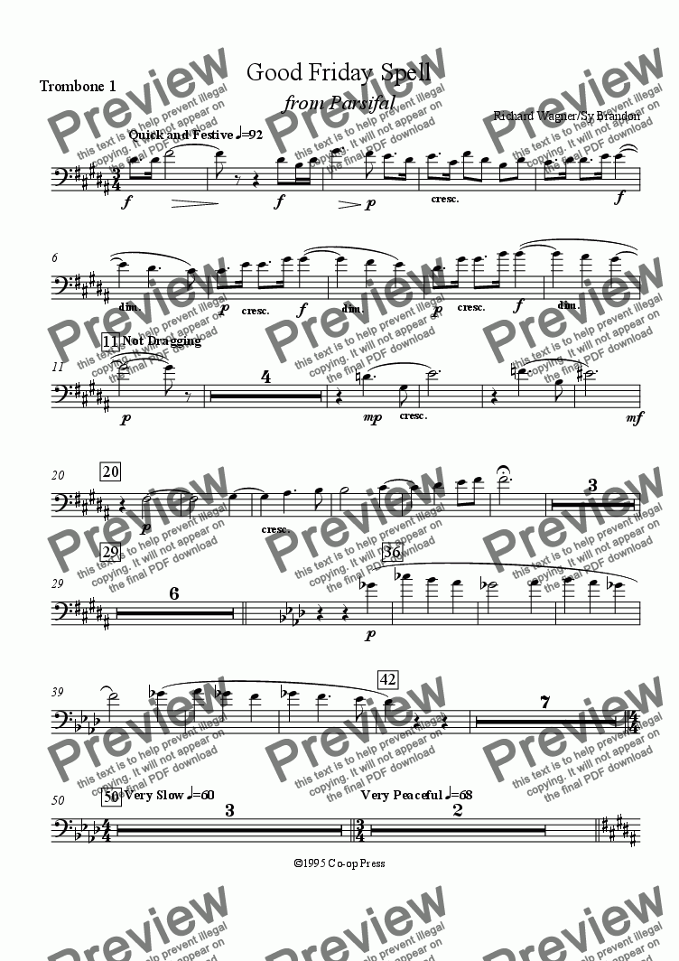 page one of the Trombone 1 part from Good Friday Spell from Parsifal for 12 Trombones
