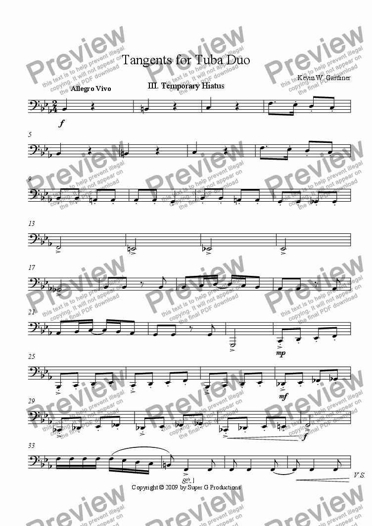 "page one of the Tuba 2 part from III. Temporary Hiatus ""from Tangents for Tuba Duo"