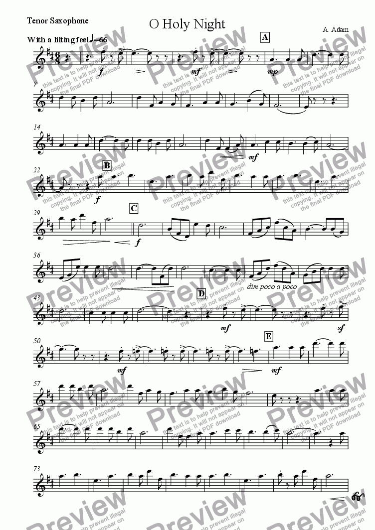page one of the Tenor Saxophone part from O Holy Night (for Saxophone Quartet SATB)