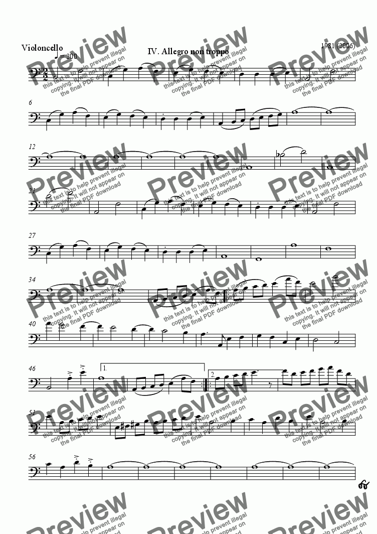 page one of the Violoncello part from String Quartet #2, movement 4