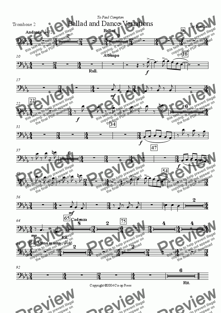 page one of the Trombone 2 part from Ballad and Dance Variations for Trombone and Band