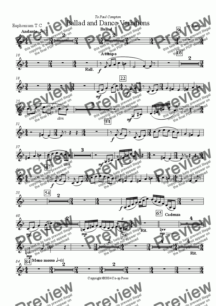 page one of the Euphonium T.C. part from Ballad and Dance Variations for Trombone and Band