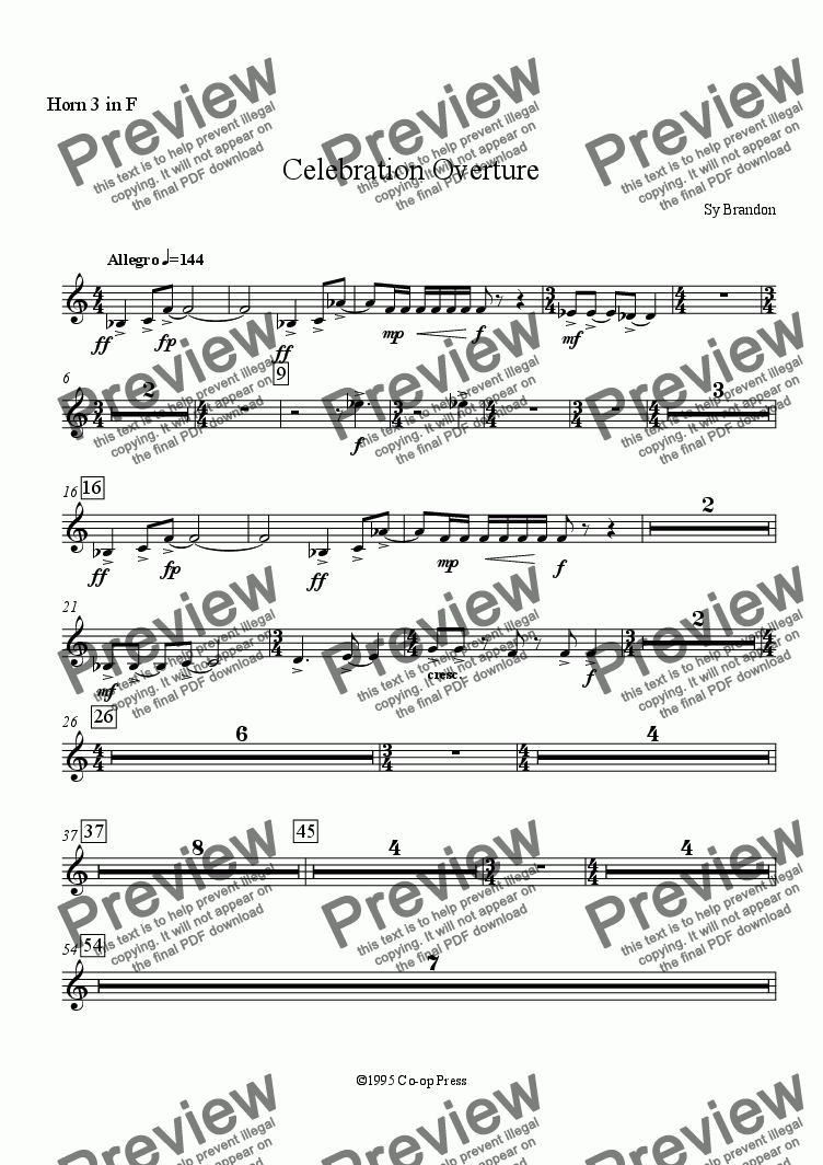 page one of the Horn 3 in F part from Celebration Overture (Full Orchestra)