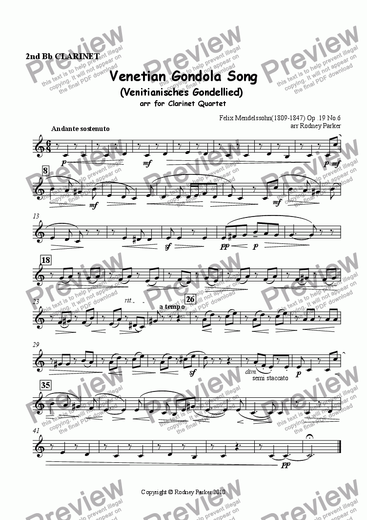 page one of the 2nd Clarinet part from Venetian Gondola Song arr for Clarinet Quartet