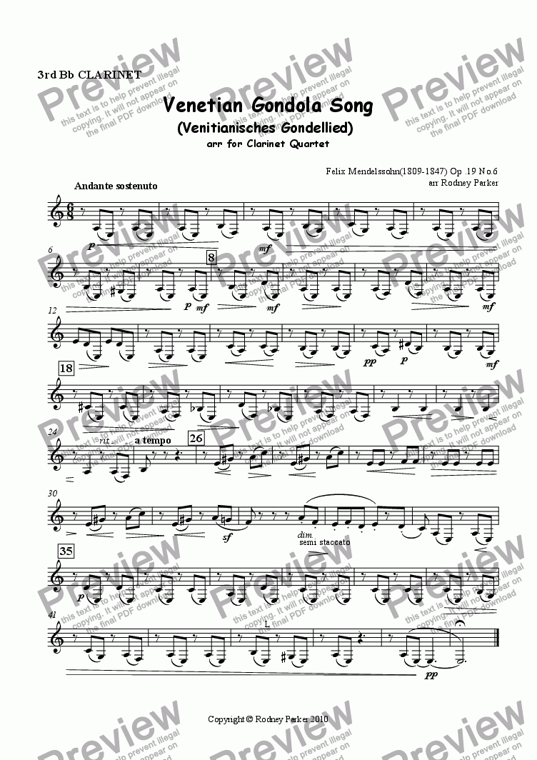page one of the 3rd Clarinet part from Venetian Gondola Song arr for Clarinet Quartet