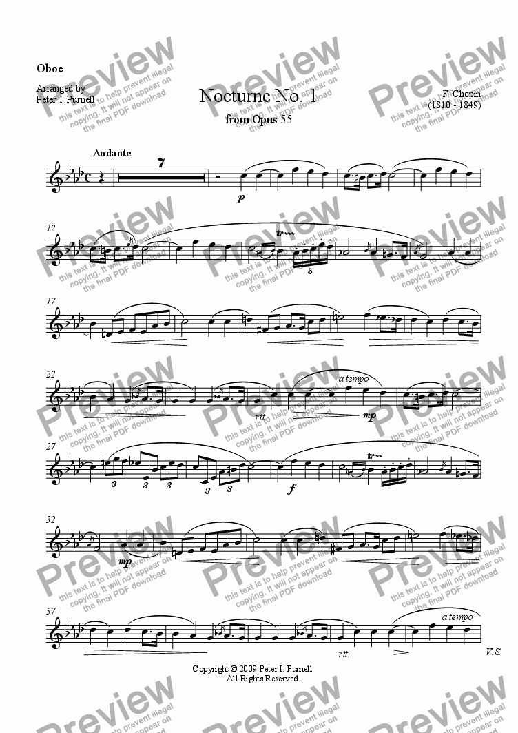 page one of the Oboe part from Nocturne No.1