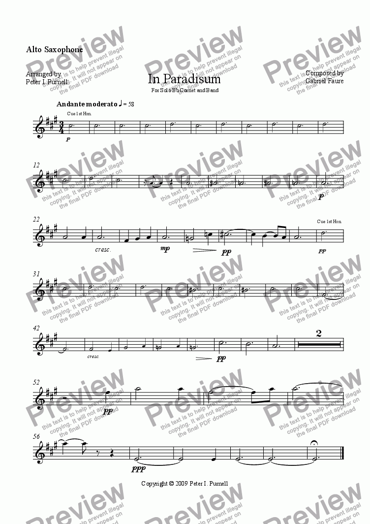 page one of the Alto Saxophone part from In Paradisum