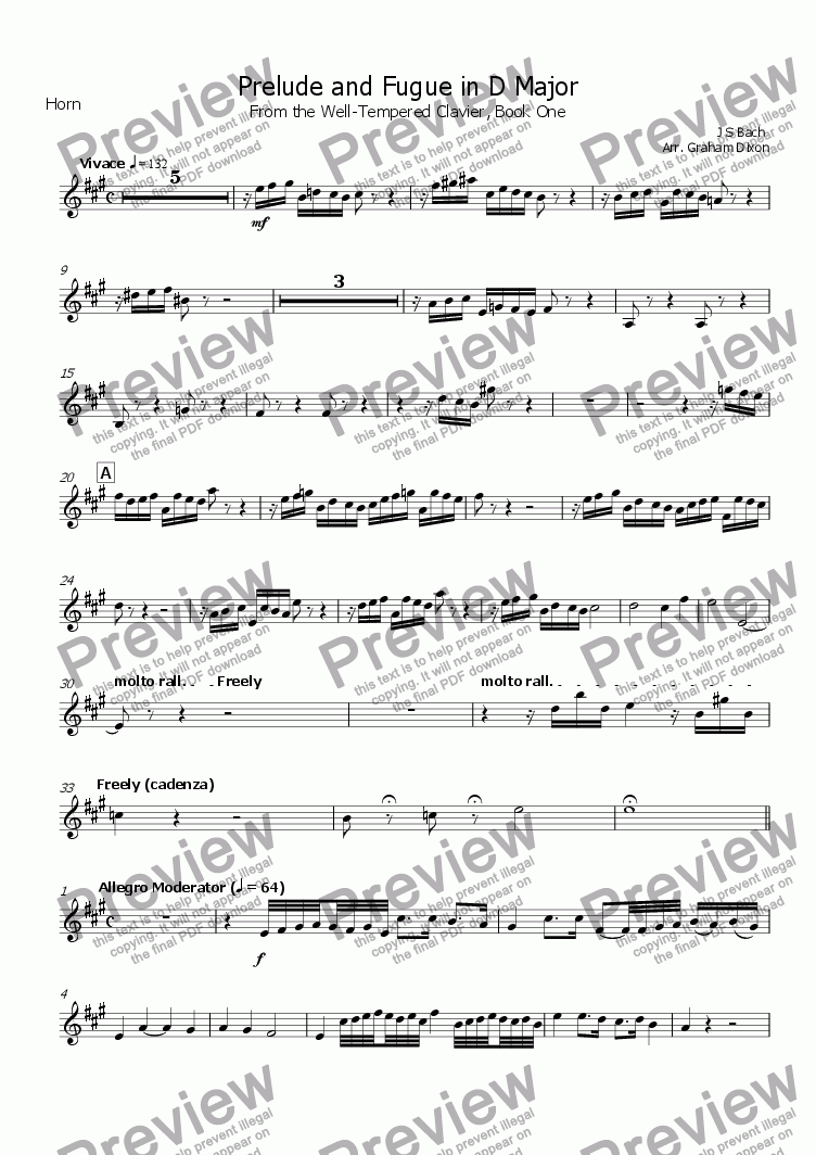 page one of the Horn in F part from Four Preludes and Fugues from the Well-Tempered Clavier (Book One) for Brass Quintet