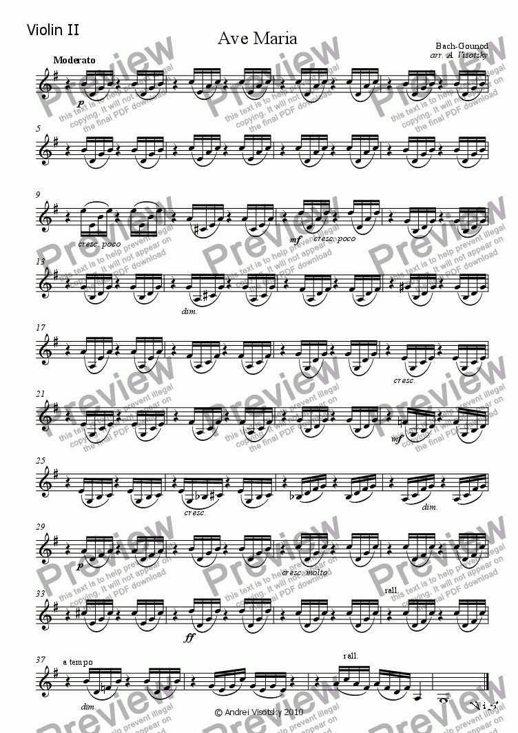 page one of the violin II part from Ave Maria