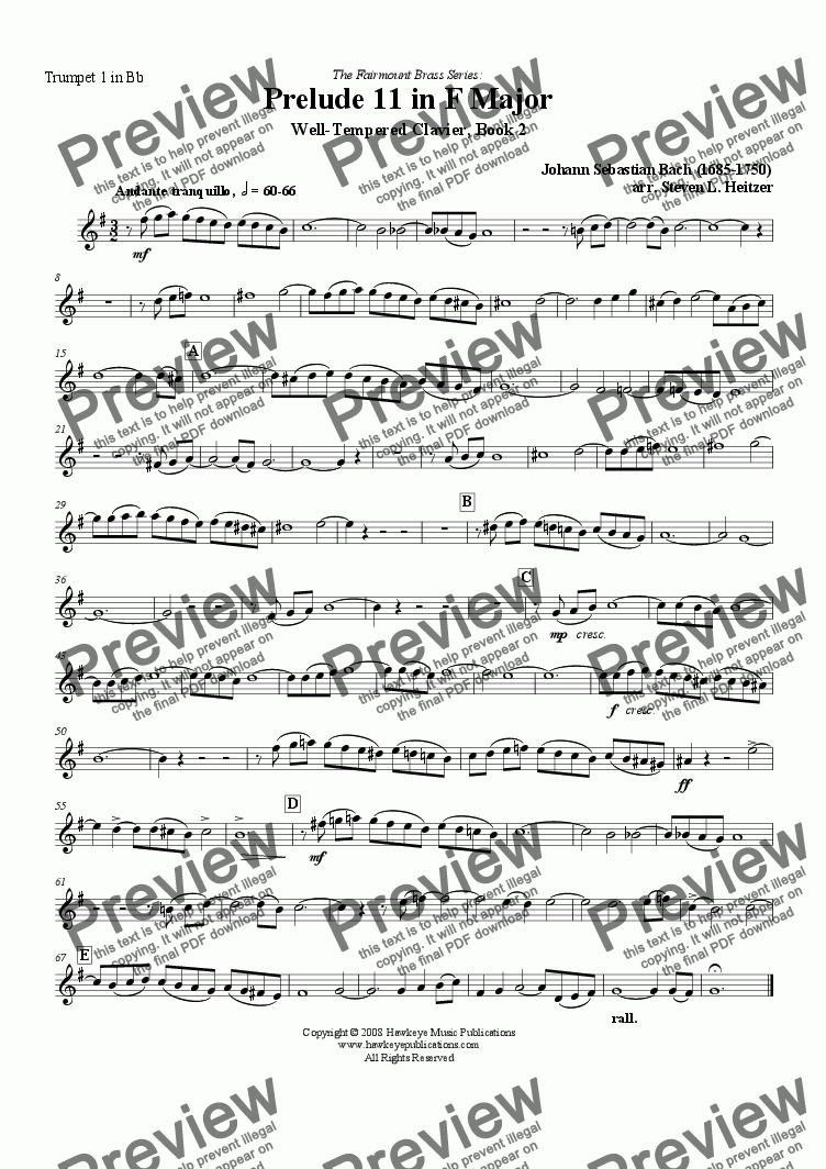 page one of the Trumpet 1 in Bb part from Prelude 11, F major (WTC Bk 2) - Brass QUINTET